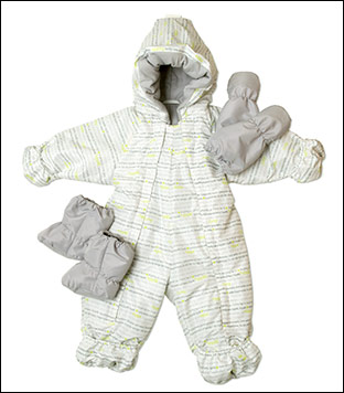 Snowsuit with insulated mittens and bootees