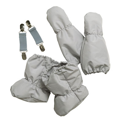Insulated booties, mittens and mitten clips